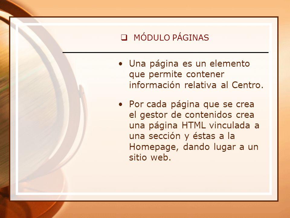 MÓDULO PÁGINAS Una página es un elemento que permite contener información relativa al Centro.