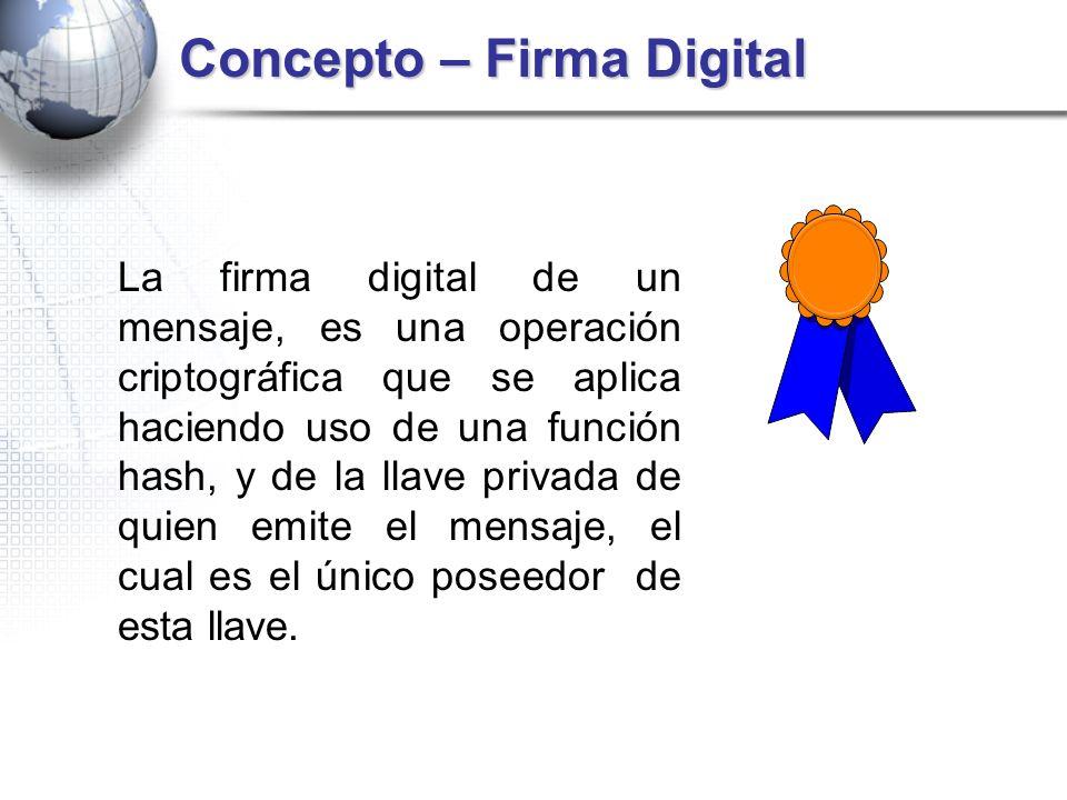 Concepto – Firma Digital La firma digital de un mensaje, es una operación criptográfica que se aplica haciendo uso de una función hash, y de la llave