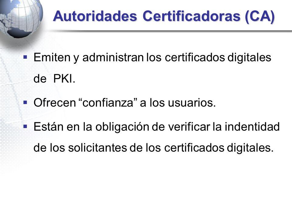 Autoridades Certificadoras (CA) Autoridades Certificadoras (CA) Emiten y administran los certificados digitales de PKI. Ofrecen confianza a los usuari