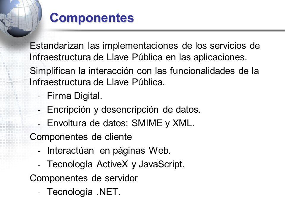 Componentes Estandarizan las implementaciones de los servicios de Infraestructura de Llave Pública en las aplicaciones. Simplifican la interacción con