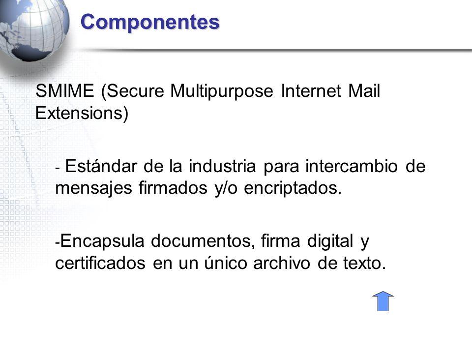 Componentes SMIME (Secure Multipurpose Internet Mail Extensions) - Estándar de la industria para intercambio de mensajes firmados y/o encriptados. - E