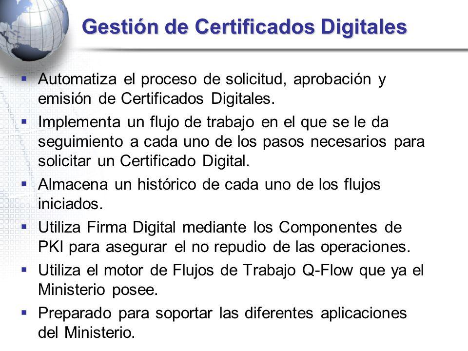 Gestión de Certificados Digitales Automatiza el proceso de solicitud, aprobación y emisión de Certificados Digitales. Implementa un flujo de trabajo e