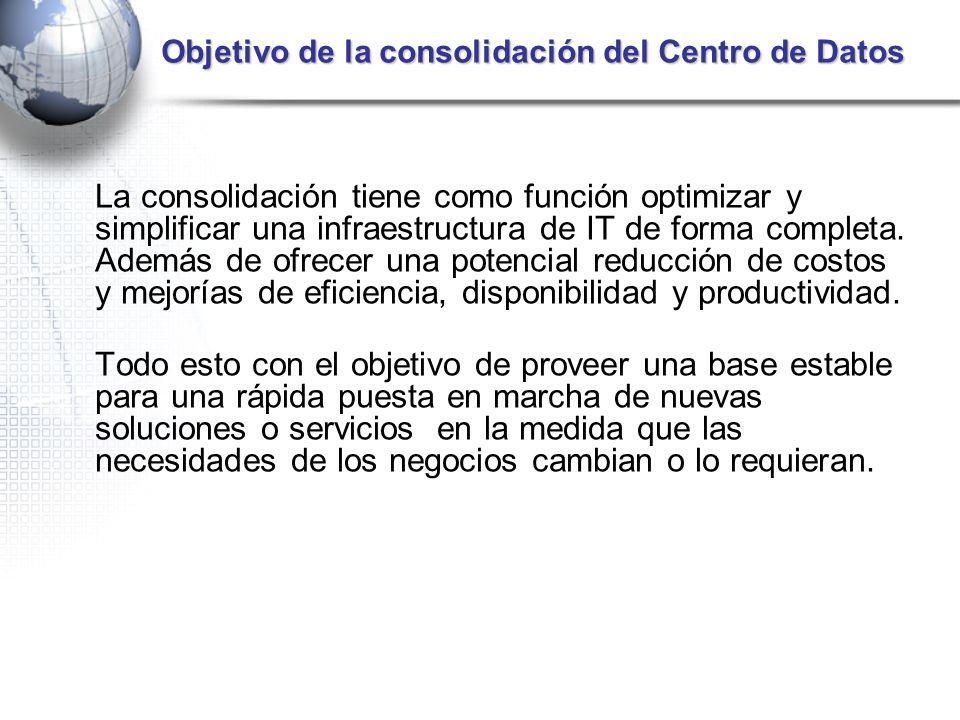 Objetivo de la consolidación del Centro de Datos La consolidación tiene como función optimizar y simplificar una infraestructura de IT de forma comple
