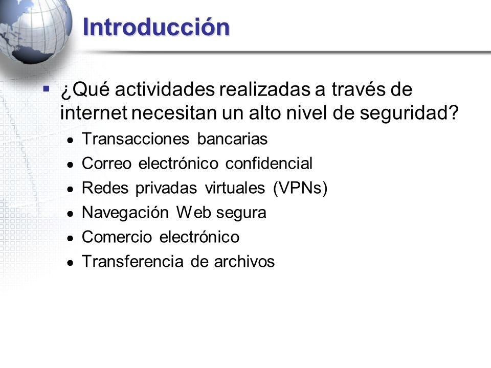 Introducción ¿Qué actividades realizadas a través de internet necesitan un alto nivel de seguridad? Transacciones bancarias Correo electrónico confide