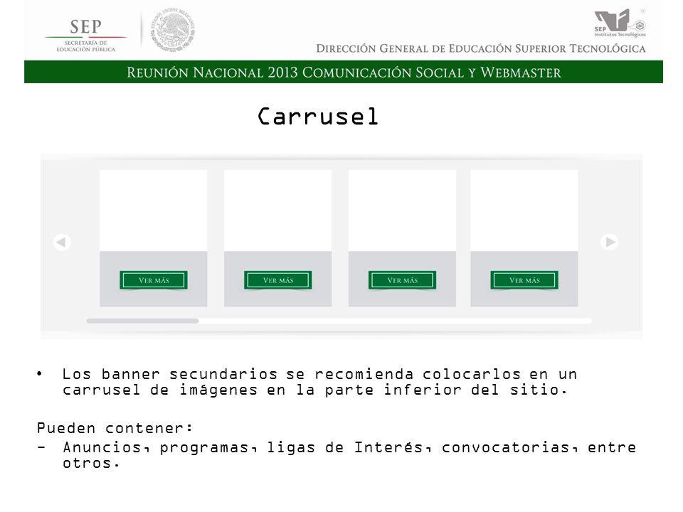 Cd. Madero 2009 Asamblea General Ordinaria del Consejo Nacional de Directores Hermosillo 2010 Carrusel Los banner secundarios se recomienda colocarlos