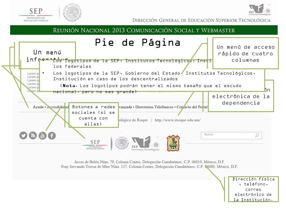 Cd. Madero 2009 Asamblea General Ordinaria del Consejo Nacional de Directores Hermosillo 2010 Pie de Página Un menú informativo Nombre, dirección elec