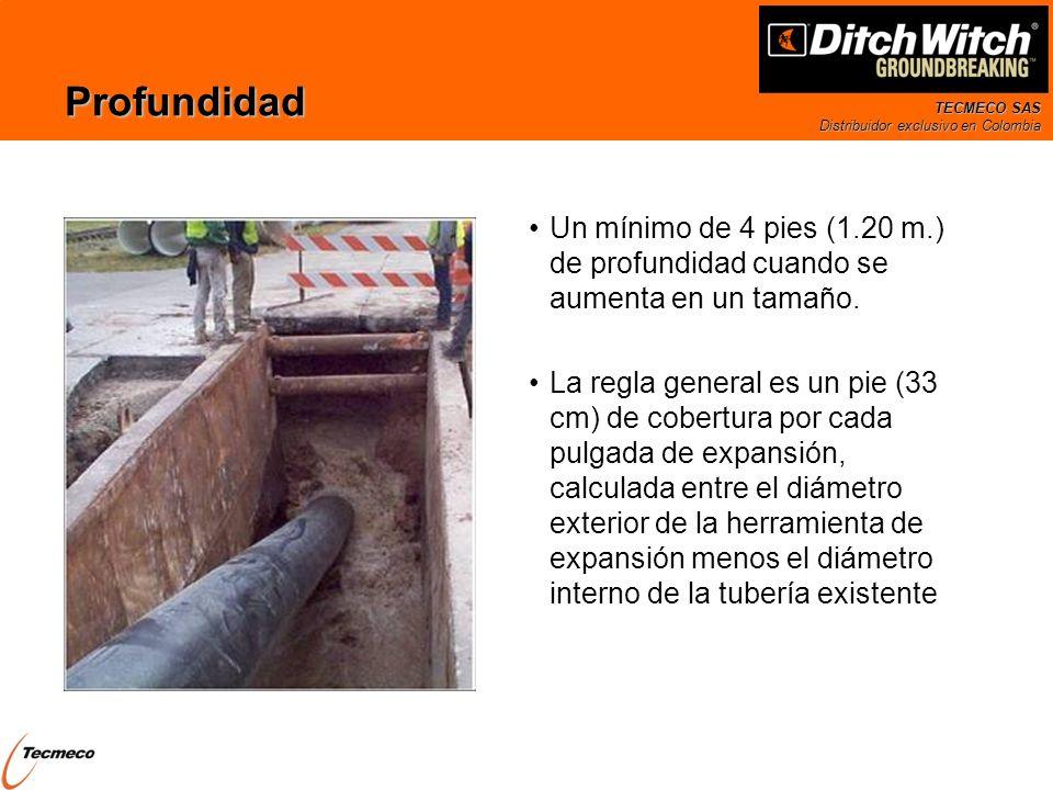 TECMECO SAS Distribuidor exclusivo en Colombia Profundidad Un mínimo de 4 pies (1.20 m.) de profundidad cuando se aumenta en un tamaño. La regla gener