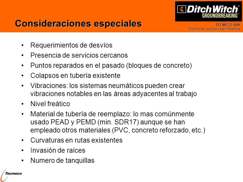 TECMECO SAS Distribuidor exclusivo en Colombia Consideraciones especiales Requerimientos de desvíos Presencia de servicios cercanos Puntos reparados e