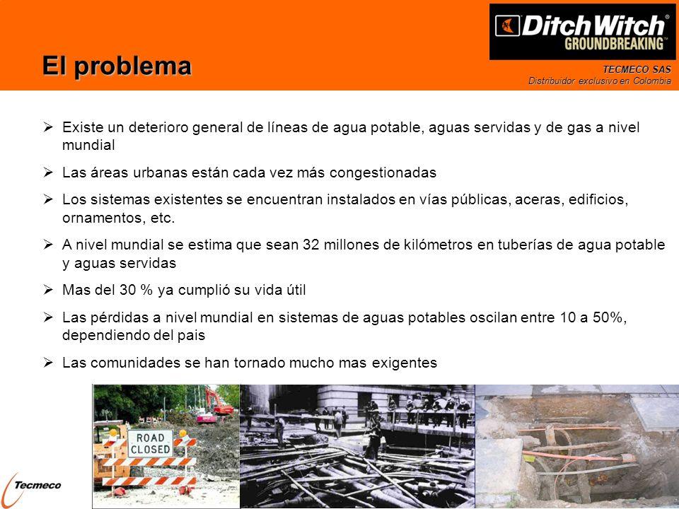 TECMECO SAS Distribuidor exclusivo en Colombia El mercado de renovación de tuberías En EEUU cada dos minutos ocurre una ruptura mayor en sistemas de aguas potables Un estudio de EPA (2008) estima que en las próxima década y solo en USA: se requerirá invertir cerca de un trillón de USD (10 12 ) para mantener los diferentes sistemas y de estos se necesitaran 335 billones de USD (10 9 ) solo en mantener los sistemas de agua potable En Colombia las pérdidas de agua promedio han sido estimadas en 45% 72 m 3 /s