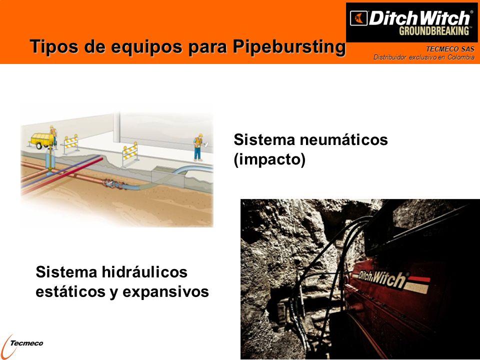 TECMECO SAS Distribuidor exclusivo en Colombia Tipos de equipos para Pipebursting Sistema neumáticos (impacto) Sistema hidráulicos estáticos y expansi