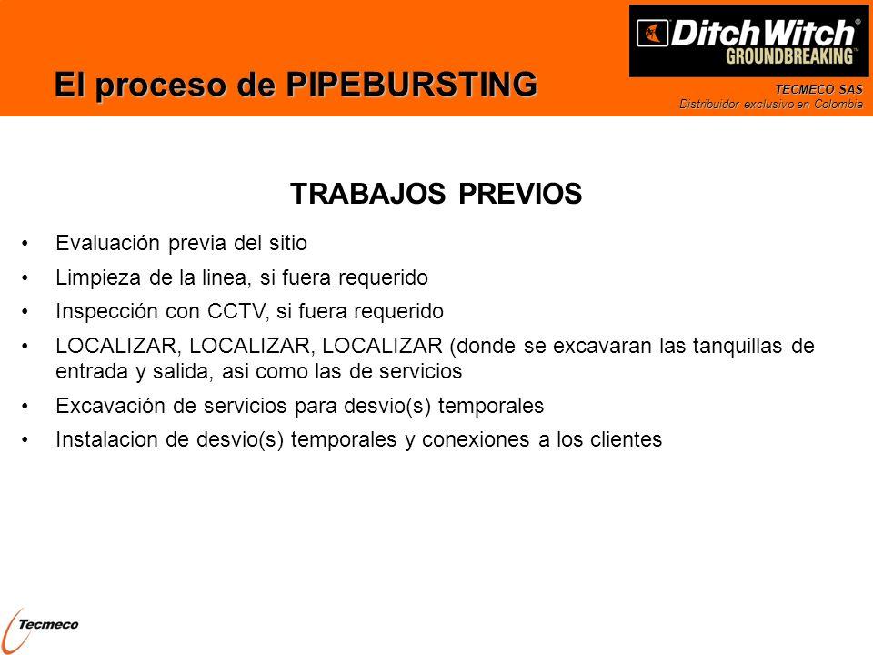 TECMECO SAS Distribuidor exclusivo en Colombia El proceso de PIPEBURSTING Evaluación previa del sitio Limpieza de la linea, si fuera requerido Inspecc