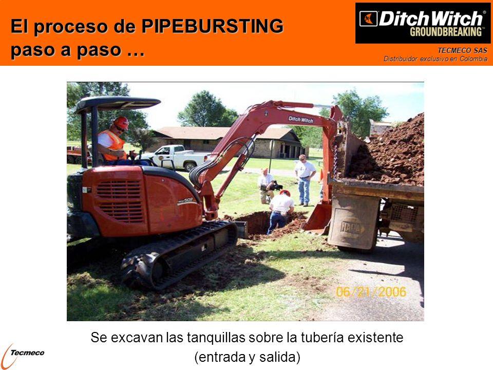 TECMECO SAS Distribuidor exclusivo en Colombia Se excavan las tanquillas sobre la tubería existente (entrada y salida) El proceso de PIPEBURSTING paso