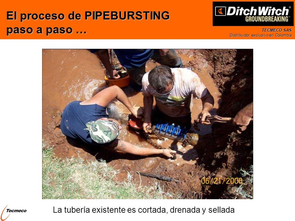 TECMECO SAS Distribuidor exclusivo en Colombia La tubería existente es cortada, drenada y sellada El proceso de PIPEBURSTING paso a paso …