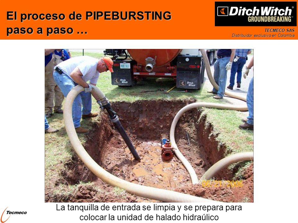 TECMECO SAS Distribuidor exclusivo en Colombia La tanquilla de entrada se limpia y se prepara para colocar la unidad de halado hidraúlico El proceso d