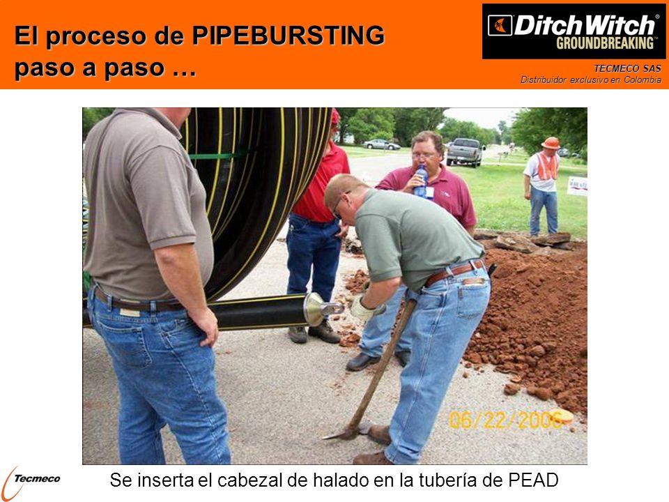 TECMECO SAS Distribuidor exclusivo en Colombia Se inserta el cabezal de halado en la tubería de PEAD El proceso de PIPEBURSTING paso a paso …