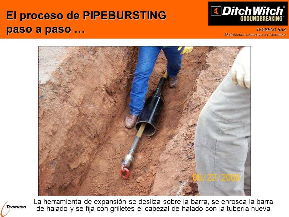 TECMECO SAS Distribuidor exclusivo en Colombia La herramienta de expansión se desliza sobre la barra, se enrosca la barra de halado y se fija con gril