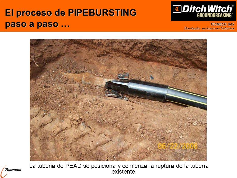 TECMECO SAS Distribuidor exclusivo en Colombia La tuberia de PEAD se posiciona y comienza la ruptura de la tubería existente El proceso de PIPEBURSTIN