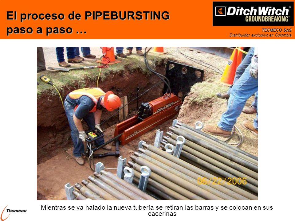 TECMECO SAS Distribuidor exclusivo en Colombia Mientras se va halado la nueva tubería se retiran las barras y se colocan en sus cacerinas El proceso d