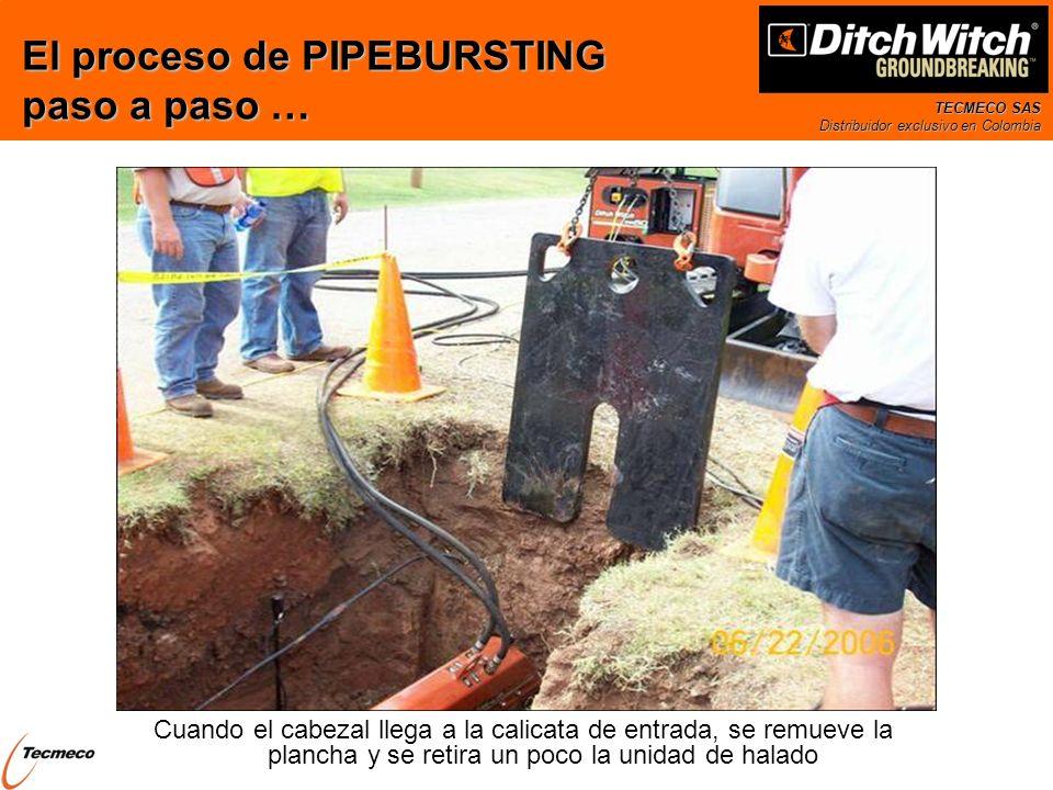 TECMECO SAS Distribuidor exclusivo en Colombia Cuando el cabezal llega a la calicata de entrada, se remueve la plancha y se retira un poco la unidad d