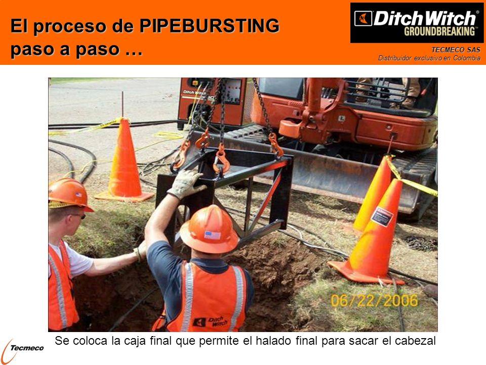 TECMECO SAS Distribuidor exclusivo en Colombia Se coloca la caja final que permite el halado final para sacar el cabezal El proceso de PIPEBURSTING pa
