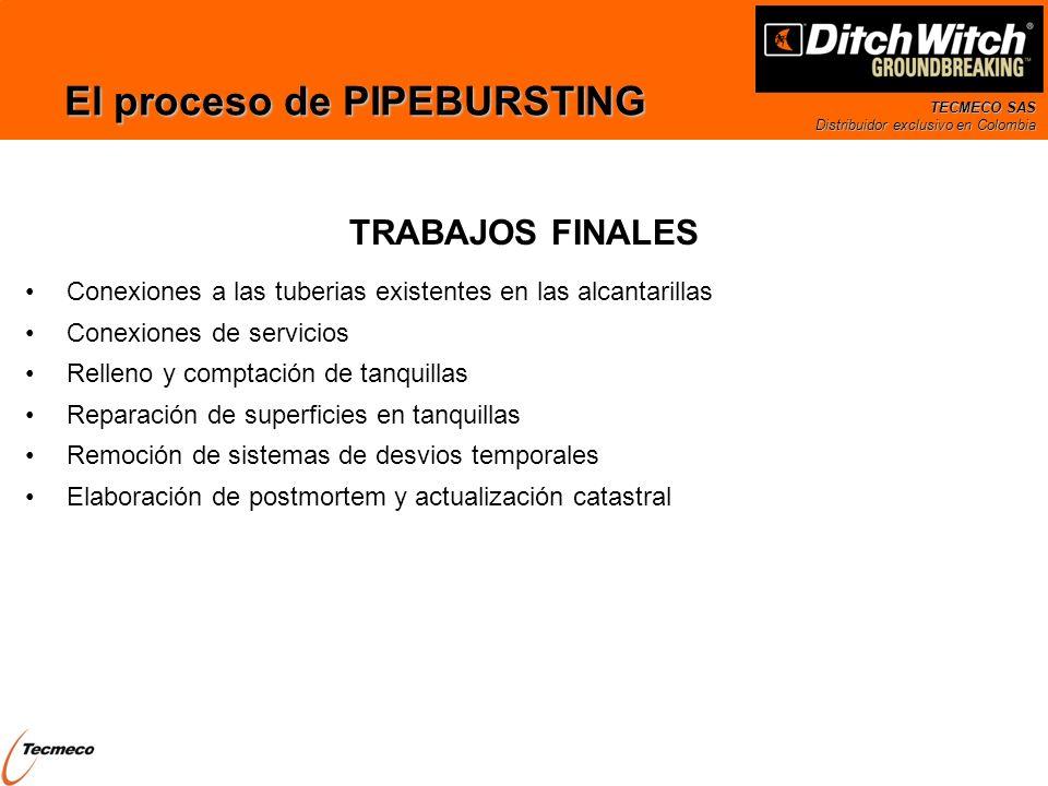 TECMECO SAS Distribuidor exclusivo en Colombia El proceso de PIPEBURSTING Conexiones a las tuberias existentes en las alcantarillas Conexiones de serv