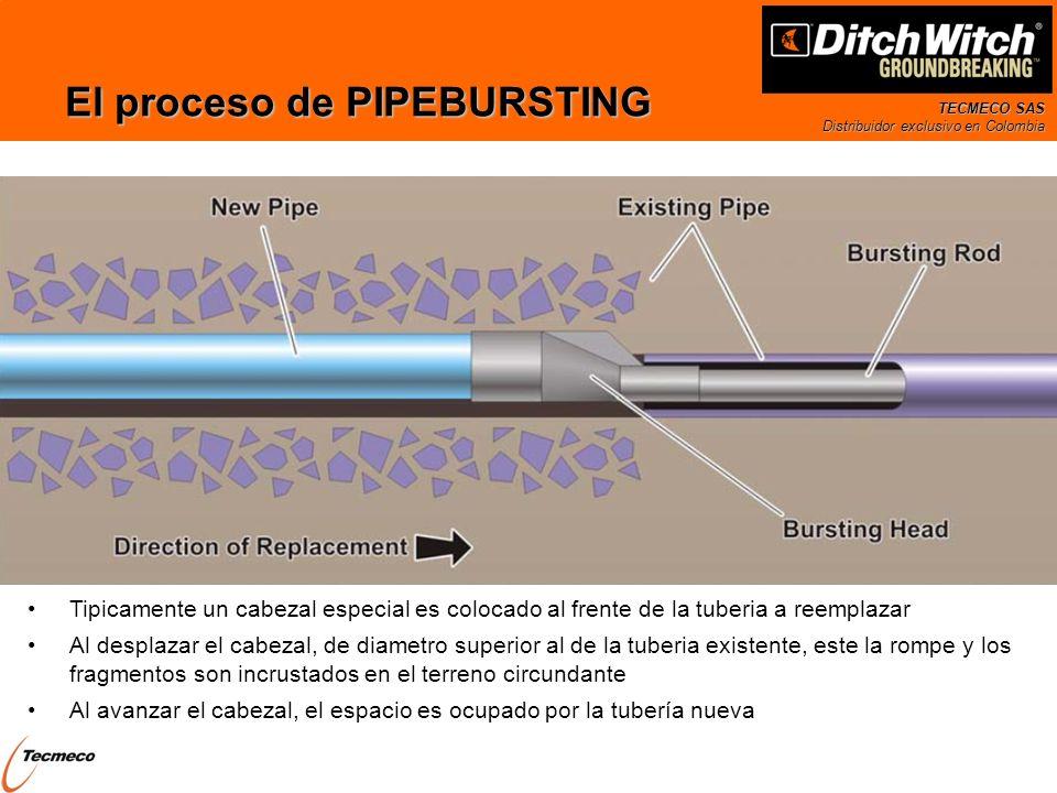 TECMECO SAS Distribuidor exclusivo en Colombia El proceso de PIPEBURSTING Tipicamente un cabezal especial es colocado al frente de la tuberia a reempl