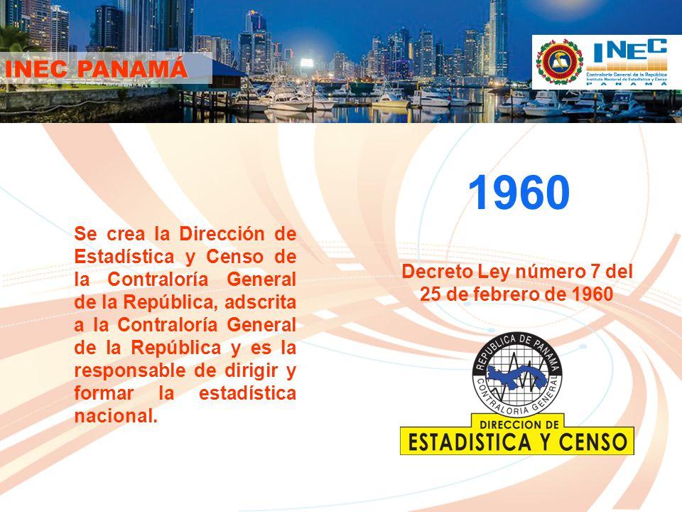 2009 La Ley 10 (de 22 de enero de 2009) moderniza el Sistema Estadístico Nacional y crea el Instituto Nacional de Estadística y Censo, como una dependencia adscrita a la Contraloría General de la República, con nivel de DIRECCIÓN NACIONAL, que es la responsable de dirigir y formar la estadística nacional.