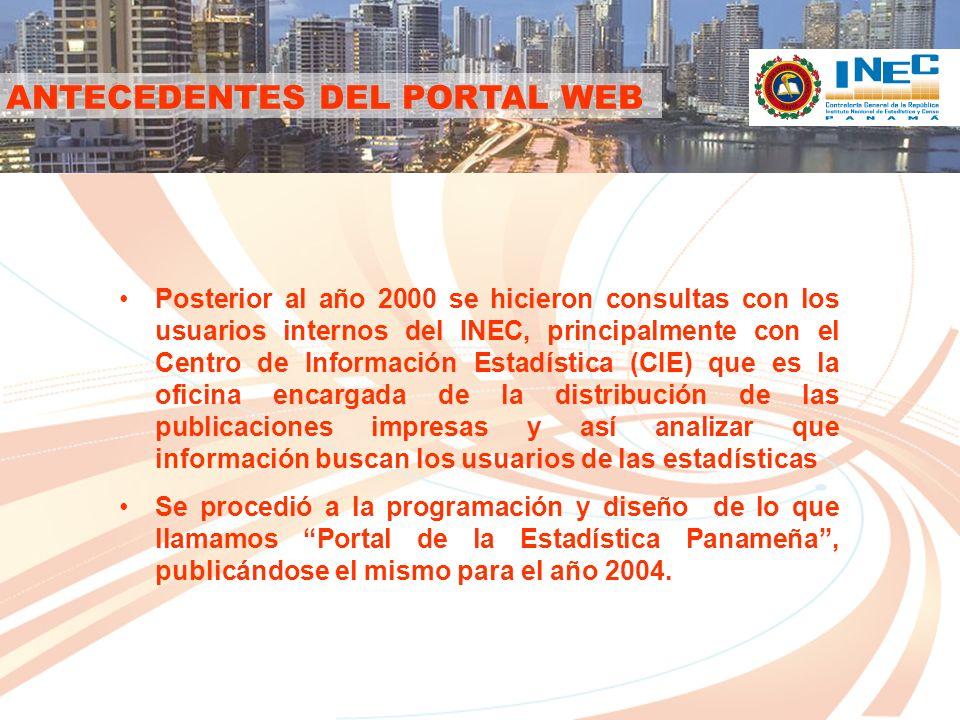 CONTENIDO DEL PORTAL CATÁLOGO DE PUBLICACIONES Muestra un acceso rápido a todas los documentos publicados por el INEC dividiéndolos en forma de catálogo por rama o área.
