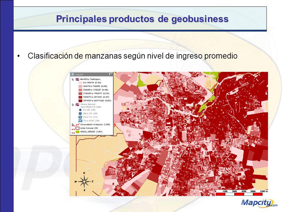 Principales productos de geobusiness Selección de clientes en la zona de influencia del Mall Plaza Norte, segmentados por GSE.