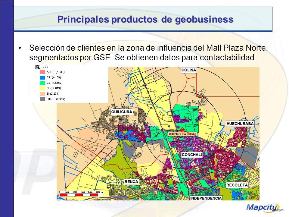 Principales productos de geobusiness Clasificación según Grupo Socioeconómico (GSE) predominante por manzana