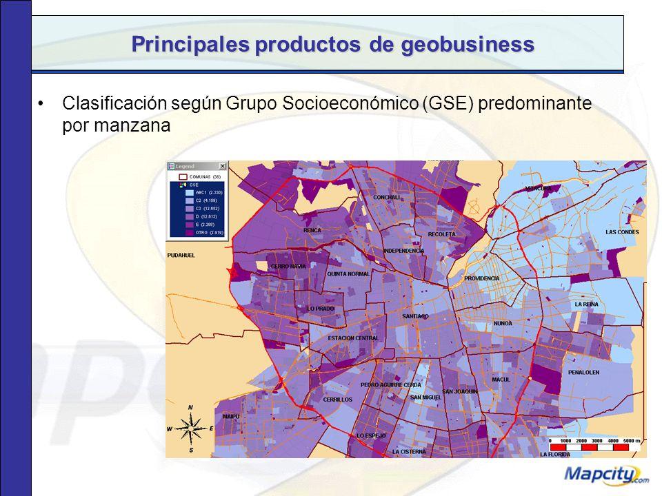 Principales productos de geobusiness Segmentación según Grupo Socioeconómico (GSE) predominante por manzana