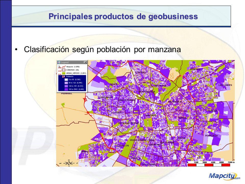 Principales productos de geobusiness Clasificación según densidad poblacional por manzana