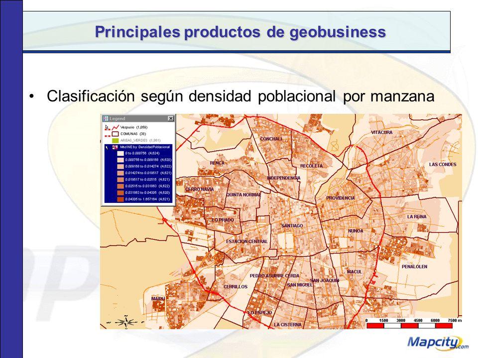 Principales productos de geobusiness Gastos por hogar a nivel de manzana, en 9 categorías y más de 460 productos.