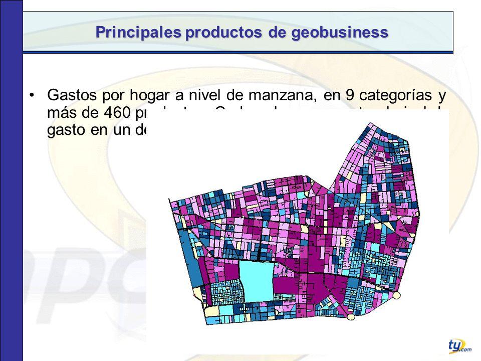 Principales productos de geobusiness Teléfonos domiciliarios de Stgo georreferenciados, para campañas de marketing directo.