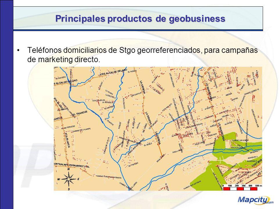Principales productos de geobusiness Análisis especiales según datos del cliente