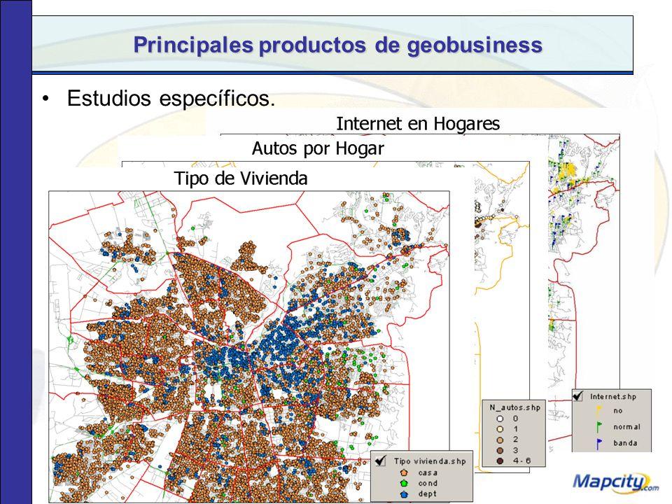 Principales productos de geobusiness Estudios de localización de nuevas sucursales