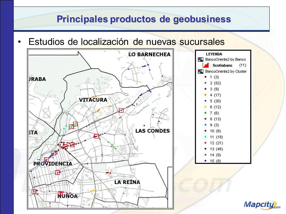 Principales productos de geobusiness Sectorización: modelo de grilla según ventas por local