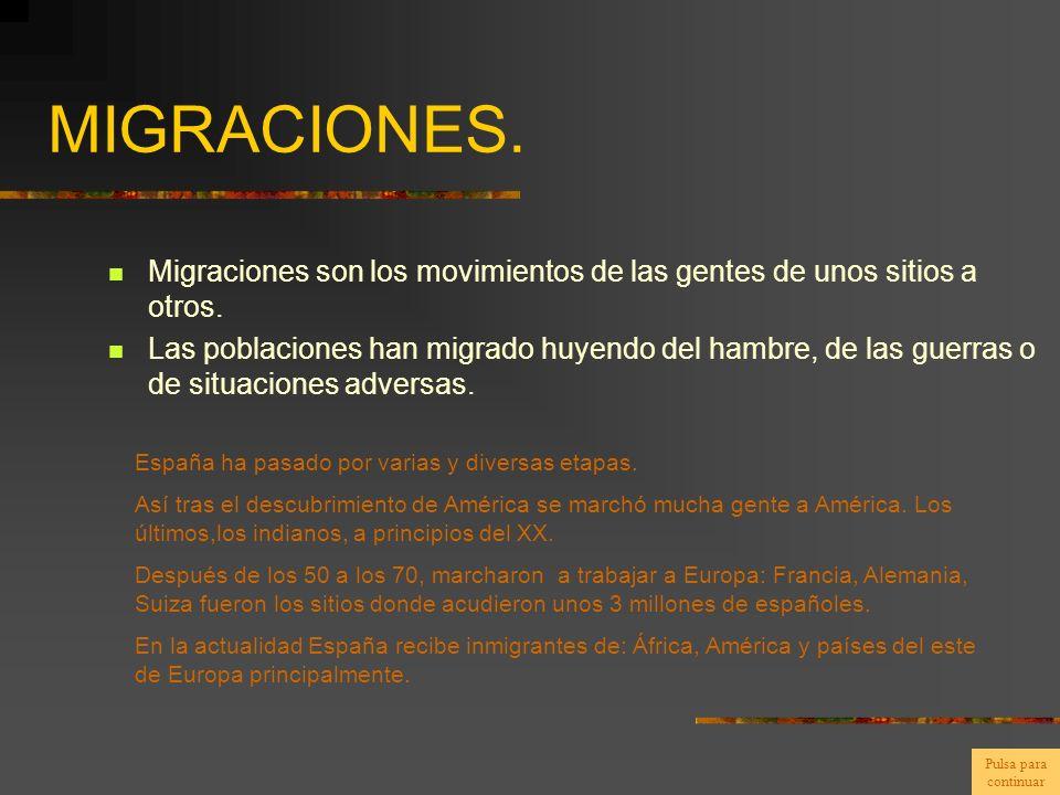 MIGRACIONES. Migraciones son los movimientos de las gentes de unos sitios a otros. Las poblaciones han migrado huyendo del hambre, de las guerras o de