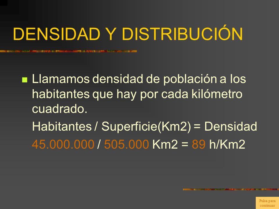 DENSIDAD Y DISTRIBUCIÓN Llamamos densidad de población a los habitantes que hay por cada kilómetro cuadrado. Habitantes / Superficie(Km2) = Densidad 4