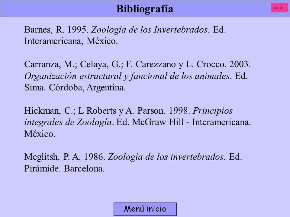 Bibliografía Menú inicio Barnes, R. 1995. Zoología de los Invertebrados. Ed. Interamericana, México. Carranza, M.; Celaya, G.; F. Carezzano y L. Crocc