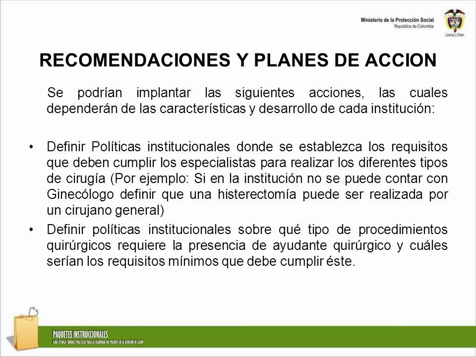RECOMENDACIONES Y PLANES DE ACCION Se podrían implantar las siguientes acciones, las cuales dependerán de las características y desarrollo de cada ins