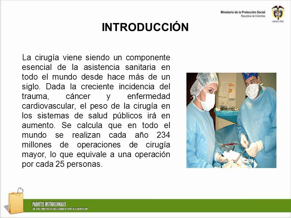 INTRODUCCIÓN La cirugía viene siendo un componente esencial de la asistencia sanitaria en todo el mundo desde hace más de un siglo. Dada la creciente
