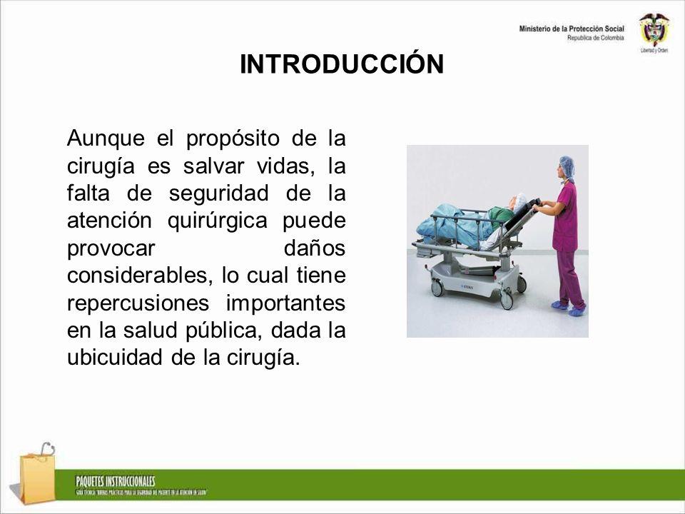 INTRODUCCIÓN Aunque el propósito de la cirugía es salvar vidas, la falta de seguridad de la atención quirúrgica puede provocar daños considerables, lo