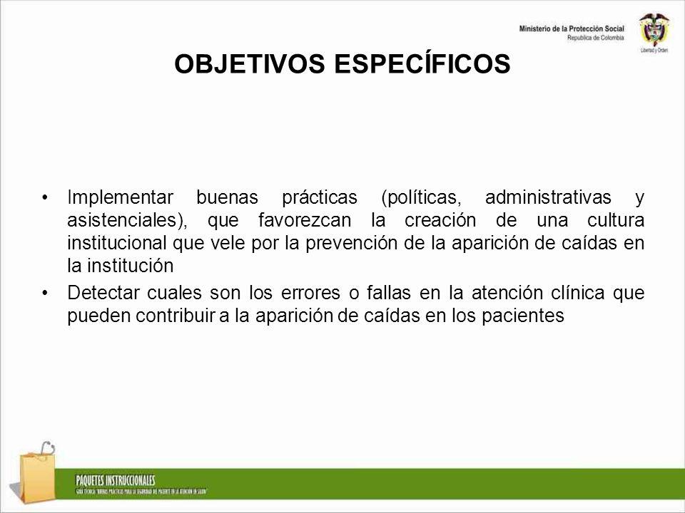 OBJETIVOS ESPECÍFICOS Implementar buenas prácticas (políticas, administrativas y asistenciales), que favorezcan la creación de una cultura institucion