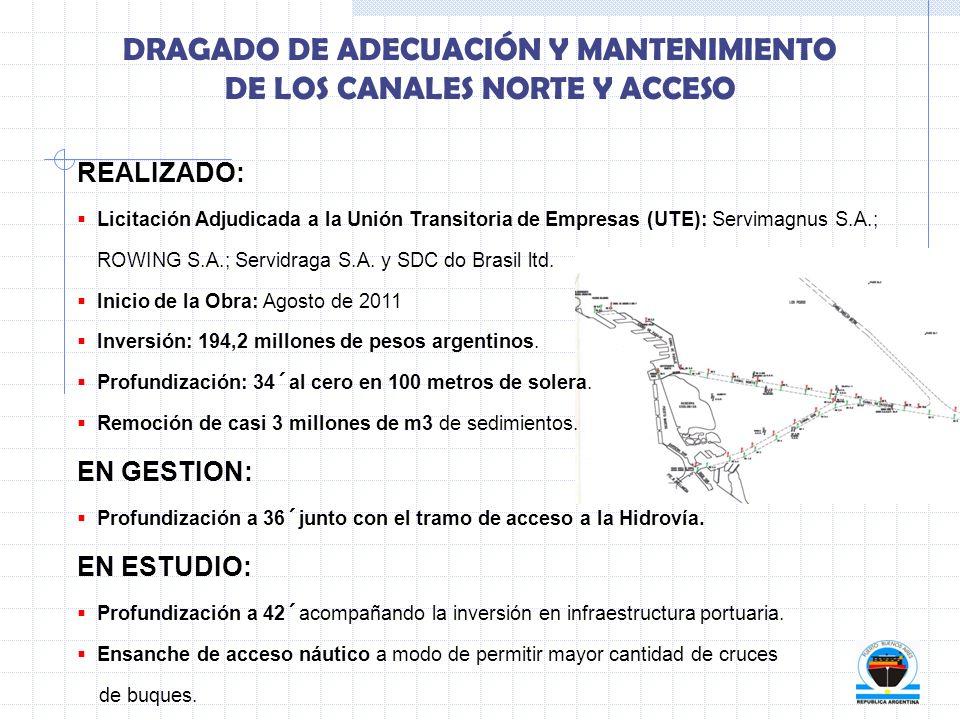 DRAGADO DE ADECUACIÓN Y MANTENIMIENTO DE LOS CANALES NORTE Y ACCESO REALIZADO: Licitación Adjudicada a la Unión Transitoria de Empresas (UTE): Servima