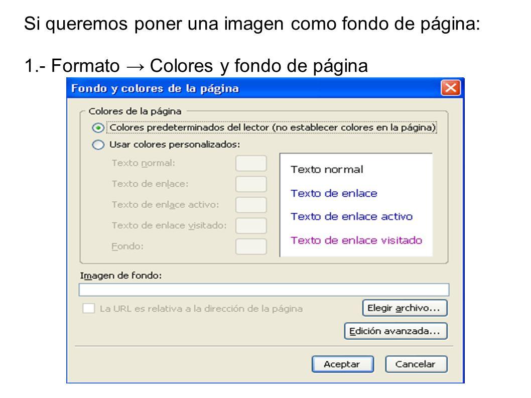 Si queremos poner una imagen como fondo de página: 1.- Formato Colores y fondo de página