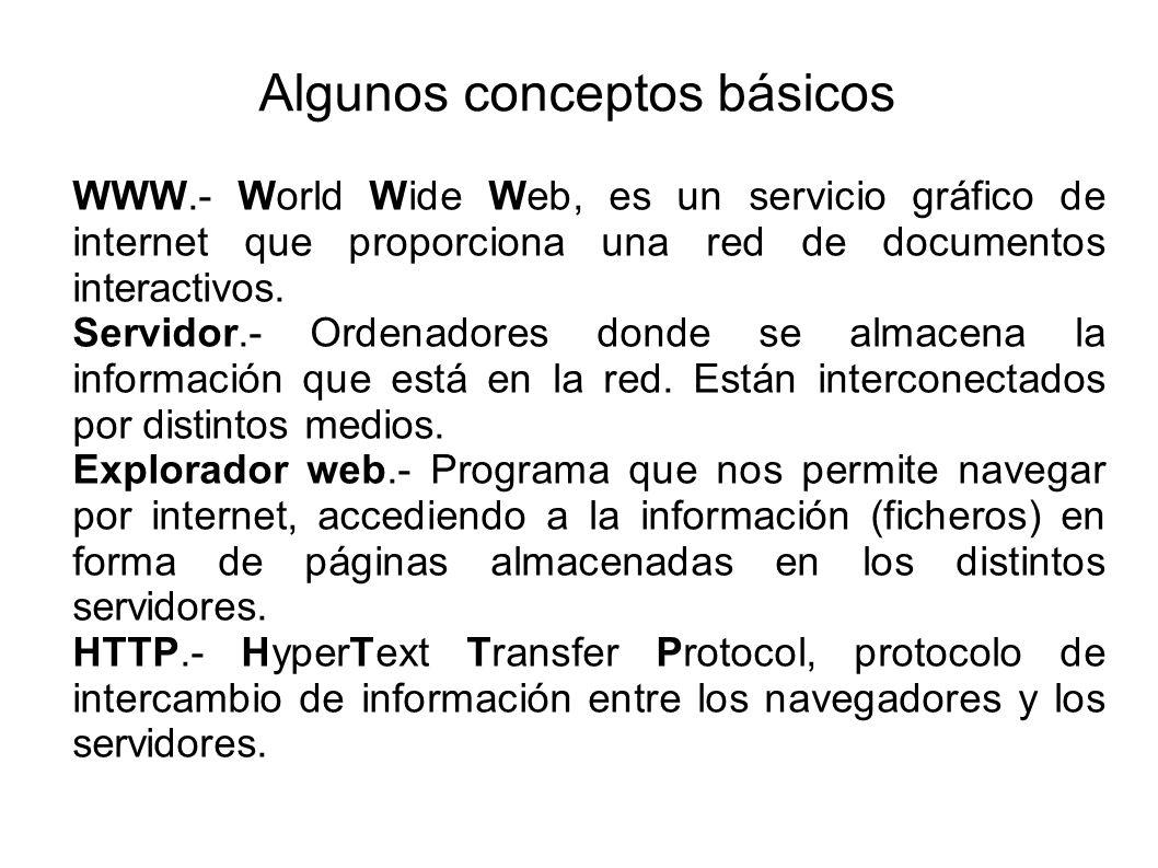 Algunos conceptos básicos WWW.- World Wide Web, es un servicio gráfico de internet que proporciona una red de documentos interactivos. Servidor.- Orde