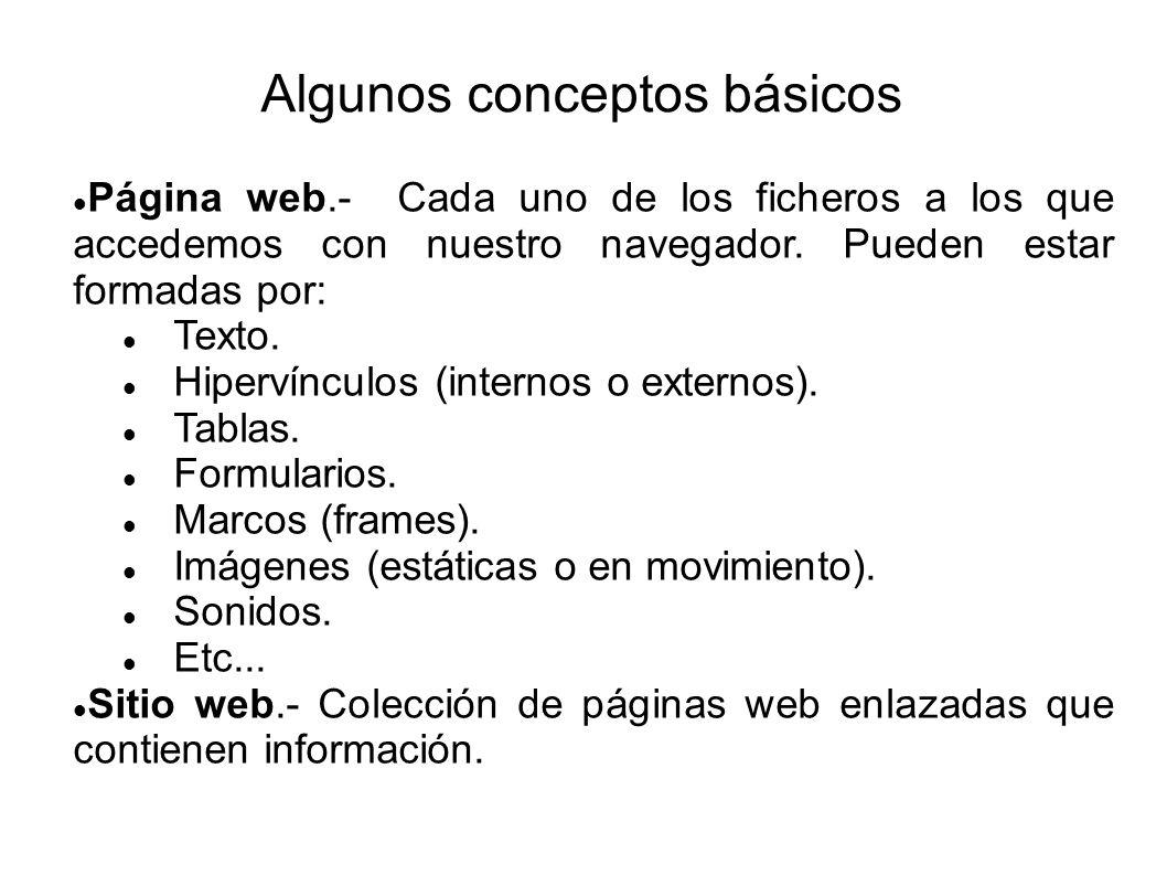 Algunos conceptos básicos Página web.- Cada uno de los ficheros a los que accedemos con nuestro navegador. Pueden estar formadas por: Texto. Hipervínc