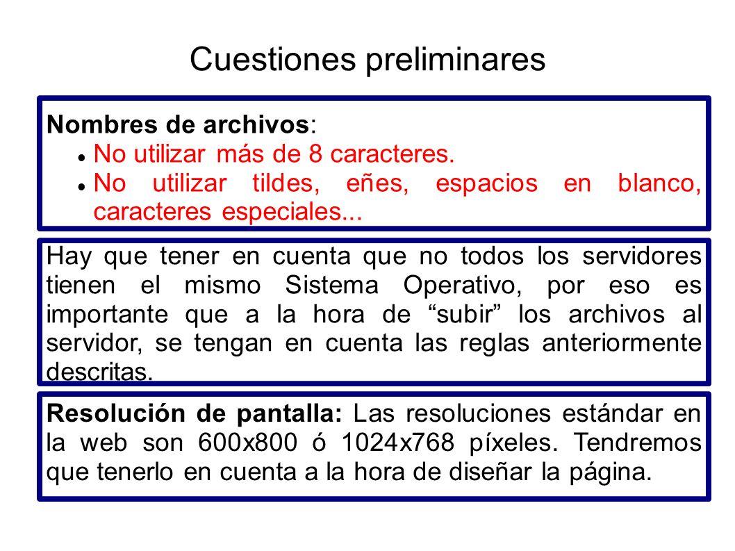 Nombres de archivos: No utilizar más de 8 caracteres. No utilizar tildes, eñes, espacios en blanco, caracteres especiales... Hay que tener en cuenta q