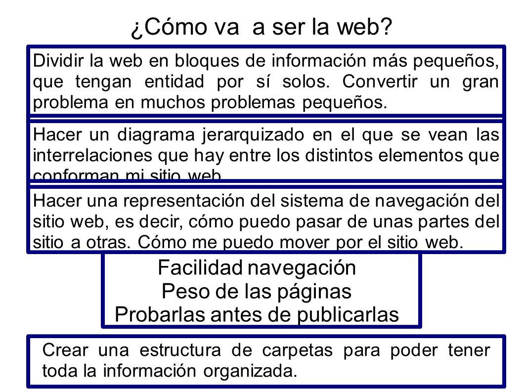 Dividir la web en bloques de información más pequeños, que tengan entidad por sí solos. Convertir un gran problema en muchos problemas pequeños. Hacer